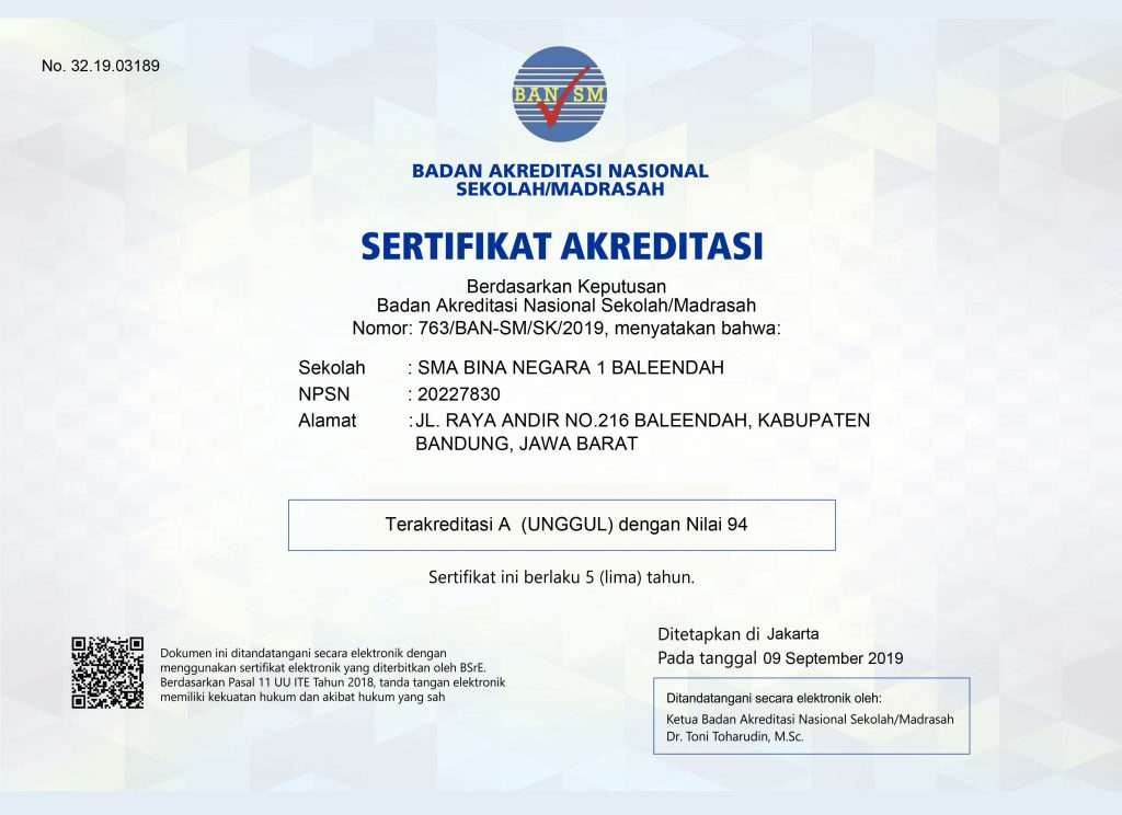 Sertifikat Akreditasi SMABN